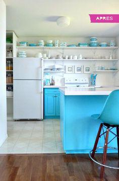 Refaire sa cuisine en blanc et turquoise