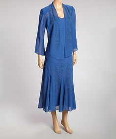 This Blue Embellished Dress & Jacket - Women by R&M Richards is perfect! #zulilyfinds