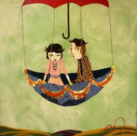 mixed media piece by Oklahoma artist Denise Duong, entitled Far Away <3 Denise Duong....wish I could afford something of hers!