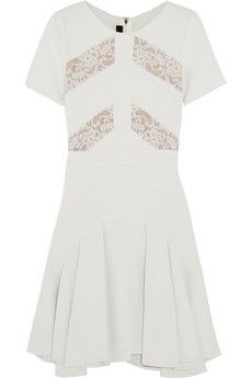 Elie Saab Lace-paneled stretch-knit dress | NET-A-PORTER
