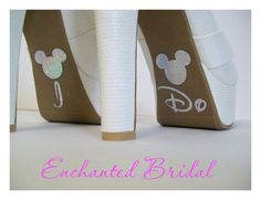"""cute idea for bottom of brides shoes."" Disney branding on your wedding day? Really?"