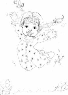 Menina feliz pulando no Jardim