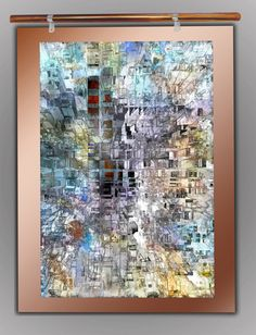 """Days in the City - Shinny, glowing, vivid look at a cityscape by day. Comments compared it to architectural drawings. Transfer of digital art onto a hand brushed copper coated with acrylic resin to seal it and make it water resistant.  Size: 30"""" x 40"""""""