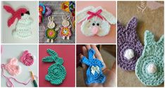 Crochet Rabbit Crochet Bunny Applique Free Patterns: Easy and Quick Easter Bunny / Rabbit Applique and Motifs crochet pattern most free for Easter crochet decoration - Christmas Crochet Blanket, Holiday Crochet, Easter Crochet, Diy Crochet, Crochet Ideas, Crochet Cable, Crochet Girls, Crochet Tutorials, Crochet Poncho