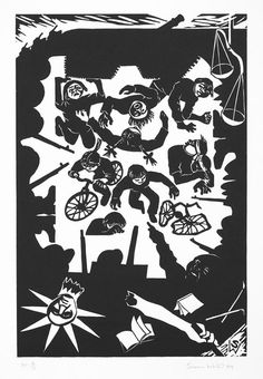 Featured in National Gallery of Australia Collection, Massacre (Tiananmen Square), 1989 fibreboard blockprint  by © Susan Dorothea White