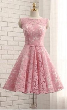 Elegant Prom Dress,Lace Prom Gown,Short Homecoming Dress,Pink Party Dress from fashiondressee Pink Party Dresses, Elegant Prom Dresses, Dresses Short, Quince Dresses, Dresses For Teens, Satin Dresses, Homecoming Dresses, Cute Dresses, Beautiful Dresses