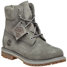 TIMBERLAND Premium 6 Inch Mono Boot Grey Nubuck (£125) ❤ liked on Polyvore featuring shoes, boots, grey, laced boots, rubber sole boots, gray boots, lace up shoes and gray shoes