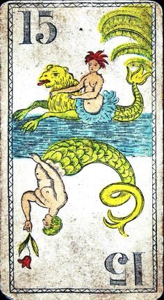 A card with a mermaid & a merman.