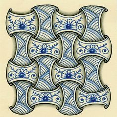 A few days ago, I ran across some pretty Zentangles on Pinterest. They were drawn in blue and had the look of Delft pottery. I followed t...