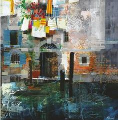 Waterside House Venice by Mike Bernard. Tutorial. How to use collage, colour and texture