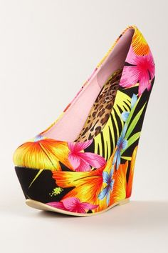 floral platform wedge with leopard lining. How can you not be happy looking at these?