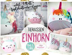 """Nähanleitungen Kind - Ebook Tierkissen """"Einhornbande"""" ♥ inkl.Plott+Appli - ein Designerstück von rosarosa-shop bei DaWanda"""