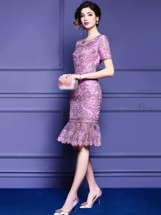 Buy Vintage Embroidery Mesh Pure Color Mermaid Bodycon Dress with High Quality and Lovely Service at DressSure.com