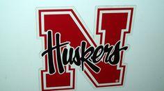 "Large 8"" Nebraska Huskers Magnetic Decal Sign - For Car, Fridge, Anywhere Metal!"