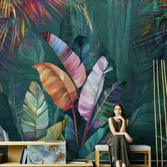 Watercolor Tropical Plants Wallpaper, Flower and Birds with Green Plants Wall Mural, Plants Living Room or Bedroom Wallpaper Wall Murals