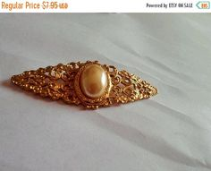 ON SALE Gold Tone Faux PEARL Brooch Pin by VintageVarietyFinds