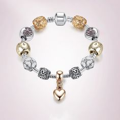 Get this Crystal Love Heart Charm Bracelet on our website. Available in 3 sizes