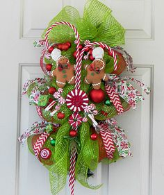 Christmas Deco Mesh Wreath Swag, Gingerbread Men, Peppermint Candy, Holiday Ornaments, Chevron Ribbon, Indoor Outdoor Christmas Decoration