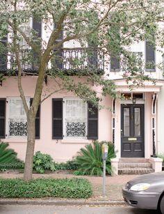 blush pink home-black shutters? House Paint Exterior, Exterior Paint Colors, Exterior House Colors, Paint Colors For Home, Exterior Design, Black Shutters, Sweet Home, Stucco Homes, Tudor House