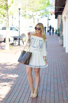 Moonstruck Dress, Cobalt-White || The Mint Julep Boutique