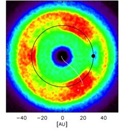 Figure 1. A model of the solar system's dust disk, formed by grains generated at the Kuiper Belt. Credit: Han et al., 2011
