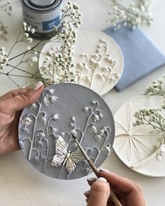 "Round botanical bas-relief for wall decor by DinaArtDecor. Plaster mural ""Lilies of the valley"". Amazing botanical bas-relief by art casting for framehouse wall art decoration. Spring panel with the image of lilies of the valley Plaster Crafts, Plaster Art, Clay Crafts, Diy Clay, Rustic Wall Art, Rustic Walls, Wall Art Decor, Art Mural Rustique, Hallway Table Decor"