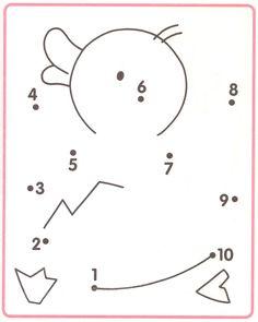 van 1 naar 10 (of je kan de nummertjes veranderen door pijltjes voor de 2de kleuterklas)