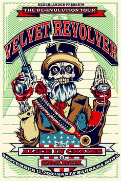 Velvet Revolver, Alice in Chains (I saw them at the Gorge in Washington State on this tour) Tour Posters, Band Posters, Music Posters, Rock N Roll, Velvet Revolver, Grunge Art, Alice In Chains, Poster Pictures, Music Photo