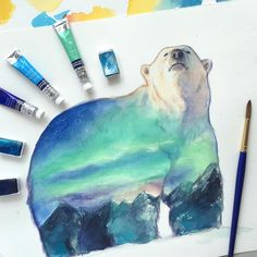 """Polar bear - Demo for my student . @winsorandnewton watercolor on 260gsm paper. Thank you everyone for following me!! Many thanks to  @talnts ___…"""