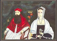 Blessed Margaret Pole pictured with her son, Cardinal Pole.  My ancestor, Sir Edward Neville, was executed on the suspicion he backed Margaret's succession to the throne.  She alone was the heir to the last of the Plantagenets.  Edward and Margaret were cousins through sisters Isobel and Anne Neville, daughter of Richard Neville, Earl of Warwick, the Kingmaker.  Sir Edward's youngest son John Neville was my ancestor. Too young to inherit anything.