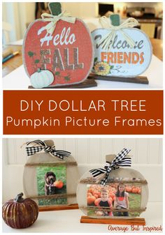 decor ideas dollar store DIY Dollar Tree Pumpkin Picture Frames So cute! Transform Dollar Tree pumpkin decorations into adorable pumpkin picture frames that are perfect for displaying fall photos! Dollar Tree Pumpkins, Dollar Tree Fall, Dollar Tree Decor, Dollar Tree Crafts, Dollar Dollar, Thanksgiving Crafts, Fall Crafts, Decor Crafts, Fall Craft Fairs