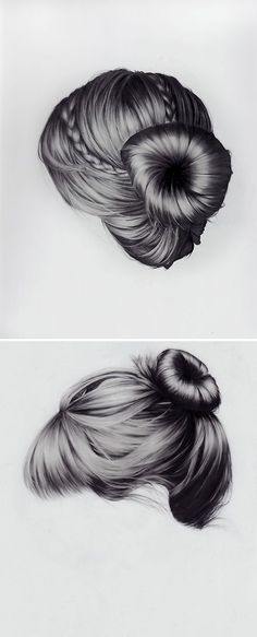 I can't even make my real hair look like this, let alone draw hair that looks like this! Upswept, long n' flowing, twists & braids…. these gorgeous hair studies are mixed media drawings on canvas by New York based artist Brittany Schall.