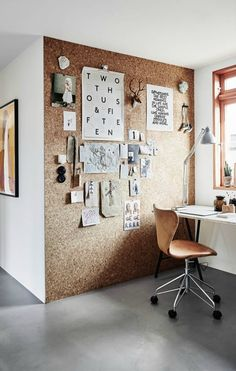 Define your workspace with an oversized DIY cork board.