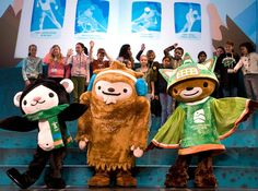 The mascots for the 2010 Winter Olympics in Vancouver, Canada, came from Canadian mythology. Miga (left) was part killer whale and part kermode bear; Quatchi (center) was a friendly sasquatch (as in Bigfoot), and Sumi (right) was an animal guardian spirit. The trio also had a sidekick, not shown: Mukmuk, a Vancouver Island marmot.