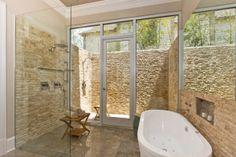 Indoor/outdoor shower. Tile is too rough looking but neat idea.
