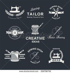 Set of tailor Logo, emblems and design elements. Tailor shop.