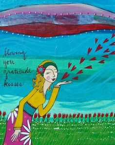 blowing you gratitude kisses - lori portka artwork