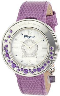 Salvatore Ferragamo Women's Gancino Sparkling Polished Stainless Steel White Guilloche Dial Diamond Watch