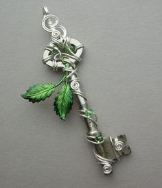 Spring Leaves Key Pendant -- Green Inked Birch Leaves Silver Wire Wrapped Key with Swarovski Crystals by Jersica Wire Jewelry, Jewelry Crafts, Jewelery, Handmade Jewelry, Crystal Jewelry, Jewelry Necklaces, Leaf Jewelry, Silver Jewelry, Jewelry Accessories