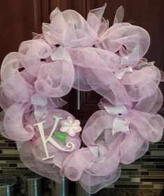 Personlized 'K' Wreath! Cute for a little girls room!