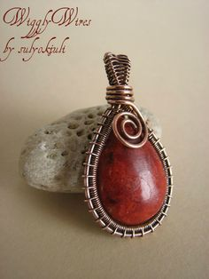 Copper Wire and Coral Pendant
