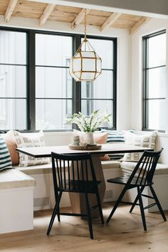 Grand Traditions Fine Homes-Custom Built Modern English Farmhouse in Barrington Illinois Dining Nook, Dining Room Design, Dining Chairs, Black Dining Bench, Booth Dining Table, Dining Corner, Dining Furniture, Furniture Ideas, Wood Plank Ceiling