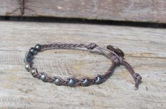 Matte Washed Denim Bead Leather Braided Bracelet