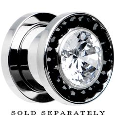 00 Gauge Stainless Steel Black Clear CZ Screw Fit Tunnel | Body Candy Body Jewelry