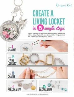 Steps to build an Origami Owl Living Locket