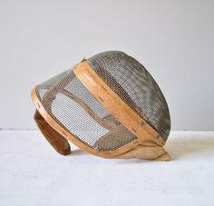 Vintage Leather Trimmed Fencing Mask