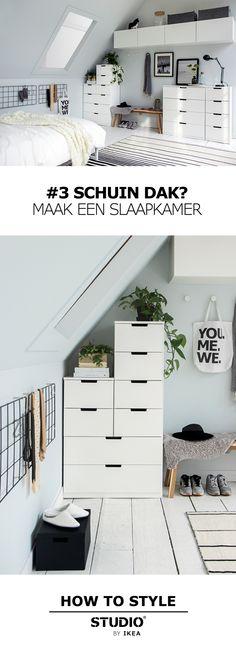 Maak een slaapkamer STUDIO by IKEA Schuin dak? Bedroom Green, Cozy Bedroom, Attic Bedroom Closets, Deco Studio, Student Room, Apartment Door, Apartment Ideas, My New Room, House Rooms