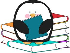 Penguin surrounded by books.  Too cute, free clip art in color and black/white.