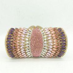 92a30c1723 Women Purple Rhinestones Crystal Evening Clutches Bag Wedding Bridal Chains  Shoulder Handbags Purses Evening Clutches