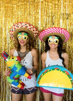 {Bachelorette Weekend: Arseña's Final Fiesta | Simply Audree Kate} Fiesta themed photoshoot with sombreros, pineapple sunglasses, and a piñata